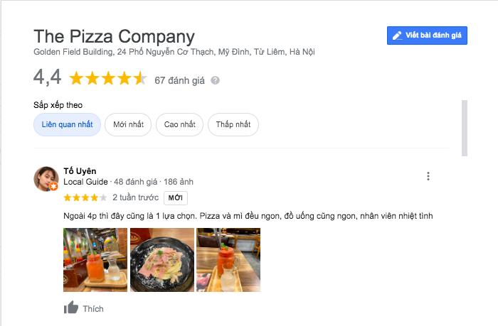 danh gia cua khach hang ve pizza company nguyen co thach