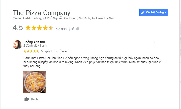 danh gia khach hang the pizza company nguyen co thach