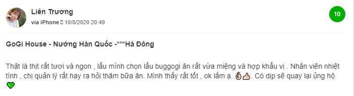 Đánh giá của KH về GoGi Trần Phú (1)